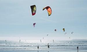 Kitesurfers on Cabedelo Beach