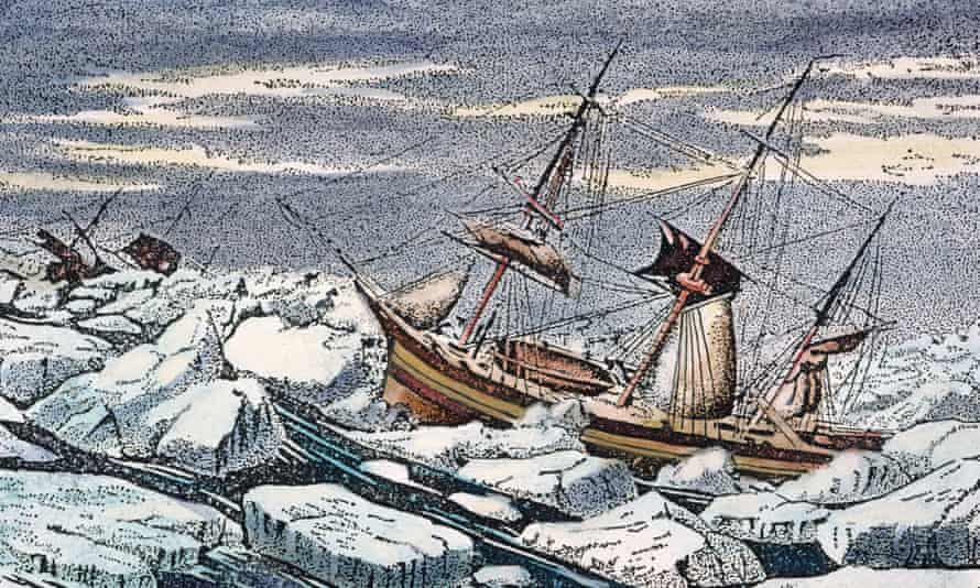 HMS Erebus and HMS Terror weathering a gale in an ice pack. In 1845, the HMS Erebus and HMS Terror departed England in search of the coveted Northwest Passage – but it ended in disaster.