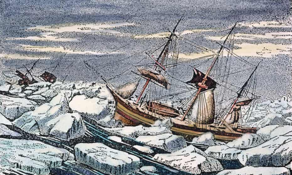 HMS Erebus and HMS Terror on John Franklin's ill-fated 1845 Arctic expedition .