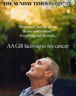 AA Gill on the front of Sunday Times magazine 11/12/16, the day after his death.