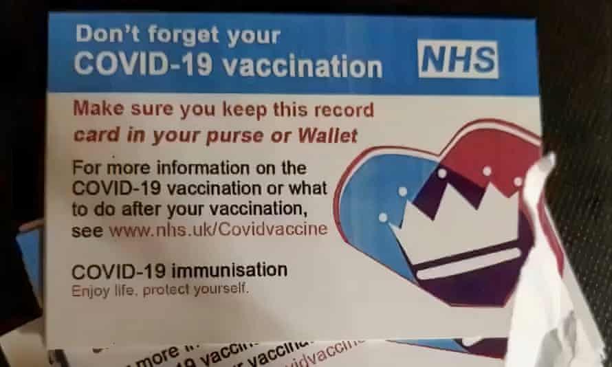 Fake NHS vaccine cards.