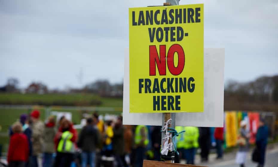 Protesters at Little Plumpton, Lancashire.