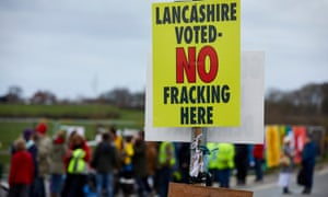 Protestors from Frack Free Lancashire outside Cuadrilla's shale gas fracking site at Little Plumpton, Lancashire.