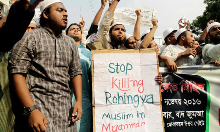 A protest rally in Dhaka, Bangladesh, on Friday against attacks on Rohingyas in Myanmar
