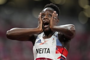 Great Britain's Daryll Neita reacts after learning she's qualified for the 100m final.