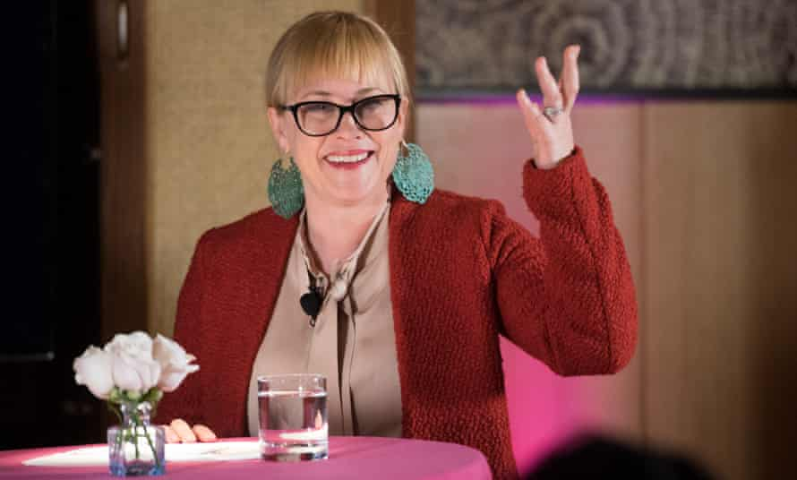 Patricia Arquette speaks at the ActuallySheCan panel discussion.