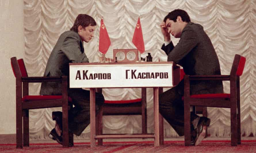 Karpov (left) and Kasparov during the World Chess finals in Moscow, September 1984.
