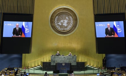 The Russian president Vladimir Putin's video message is played during the UN general assembly. But did he make the Top 5?
