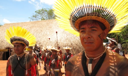 Danrley Furigá Ikpeng and other Ikpeng, one of many indigenous peoples opposed to the Belo Monte dam and other proposed dams in the Xingu basin in Brazil's Amazon.