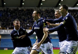 Millwall celebrate during their FA Cup fourth-round win over Everton.