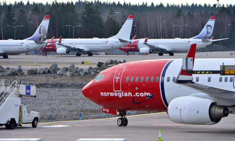 Grounded Norwegian planes at Stockholm's Arlanda Airport.