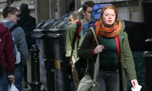 Students walk outside the London School of Economics campus