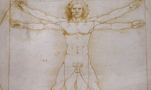 """ITALY-DAVINCI-CULTURE-SCIENCE-ART-EXHIBITIONA picture shows the """"Vitruvian Man"""" a drawing by Leonardo da Vinci, on August 2ç, 2013 in Venice. Fifty-two drawings by Renaissance genius Leonardo da Vinci are going on show in Venice from Thursday, including the famous but rarely-seen Vitruvian Man charting the ideal proportions of the human body. The show in the city's Galleria dell'Academia displays works from the museum's own archives as well as from the collections of the British Royal Family, the Ashmolean Museum, the British Museum and the Louvre. AFP PHOTO / GABRIEL BOUYS (Photo credit should read GABRIEL BOUYS/AFP/Getty Images)"""