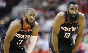 Chris Paul, left, and James Harden helped their team to victory over Atlanta on Monday