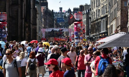 Festival-goers on the Royal Mile in 2019.