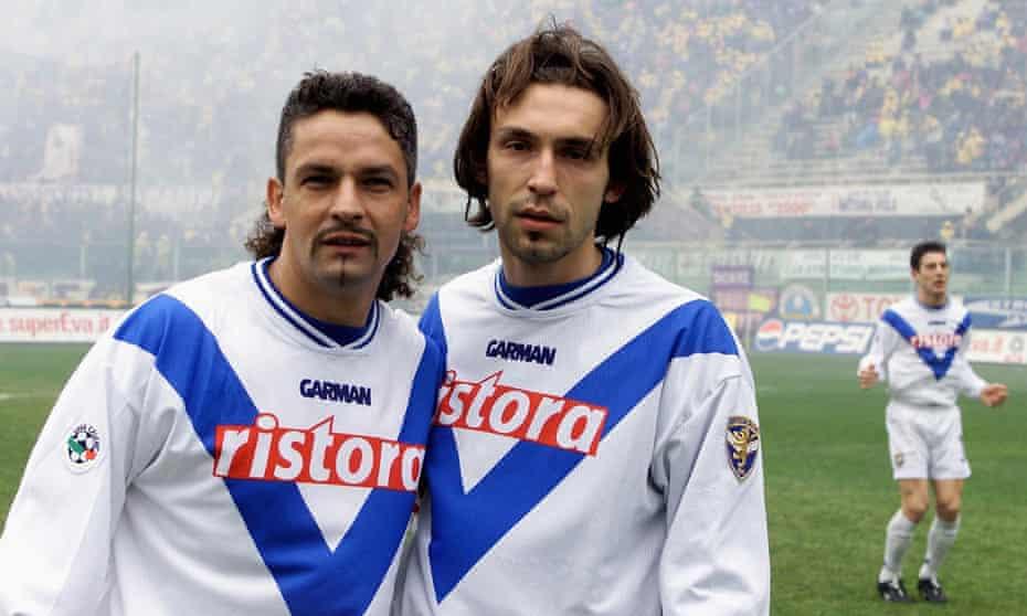 Roberto Baggio and Andrea Pirlo together at Brescia in 2001.