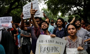 Protests in Delhi after Narendra Modi's government scrapped the special status for Kashmir.