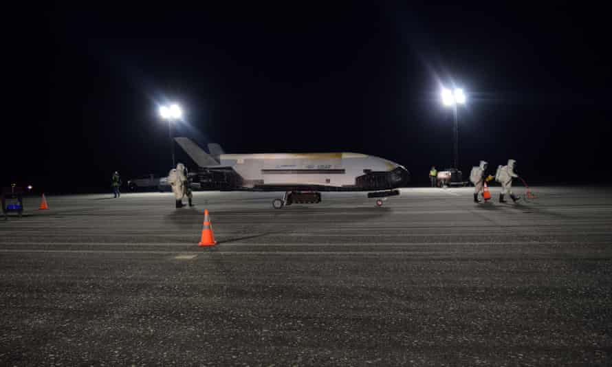 The air force's X-37B at Kennedy space center on Sunday.