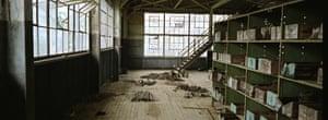 Interior of a derelict rubber factory, Fordlandia