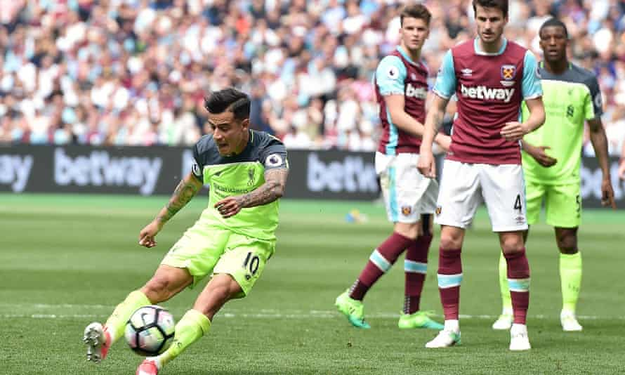Philippe Coutinho scores Liverpool's third goal in their 4-0 win at West Ham