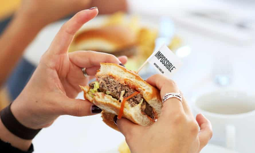 Impossible Foods' plant-based mixture of potato and wheat, coconut fat, Japanese yam, vegetable broth, xanthan gum, sugars and amino acids is a dead ringer for the real thing.