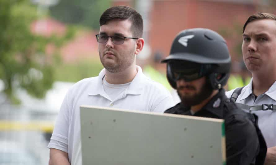 James Alex Fields Jr is seen attending the 'Unite the Right' rally before his arrest in Charlottesville, Virginia, on 12 August 2017.
