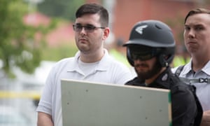 James Alex Fields Jr is seen participating in Unite The Right rally before his arrest in Charlottesville, Virginia on 12 August 2017.
