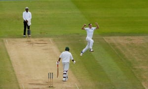 Chris Woakes celebrates picking up the wicket of Sarfraz Ahmed at Lord's.