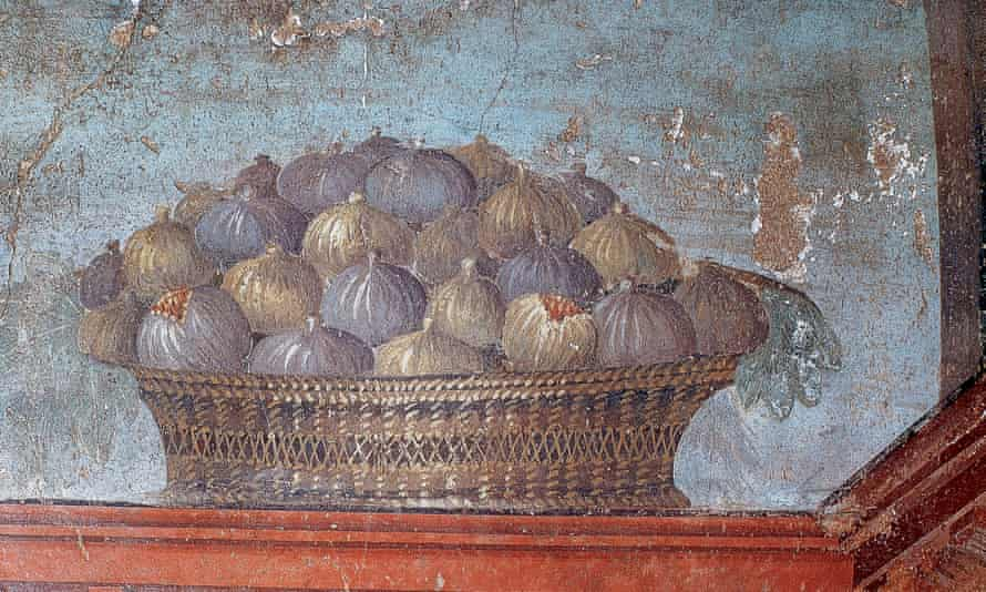 A Roman fresco of a basket of figs. 'Caesar and his chums usually only ate once a day, around noon.'