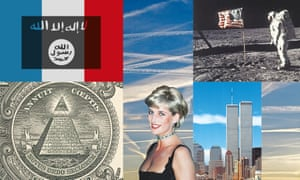 Isis, 9/11, Diana, moon landings conspiracy theory composite image
