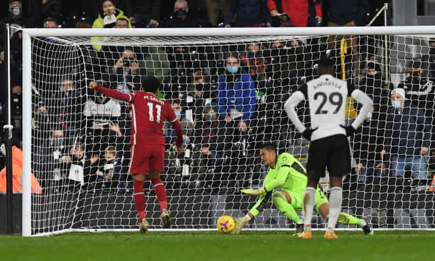 Mohamed Salah fires past the Fulham goalkeeper, Alphonse Areola, to score Liverpool's equaliser.