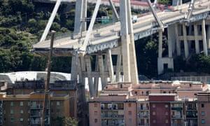 The collapsed Morandi Bridge in the port city of Genoa.
