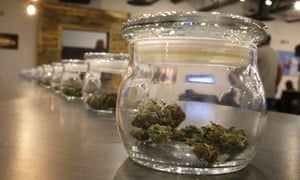 Marijuana for sale is kept in jars for customers to sample smells on opening day of a new outlet in Aurora, Colorado.