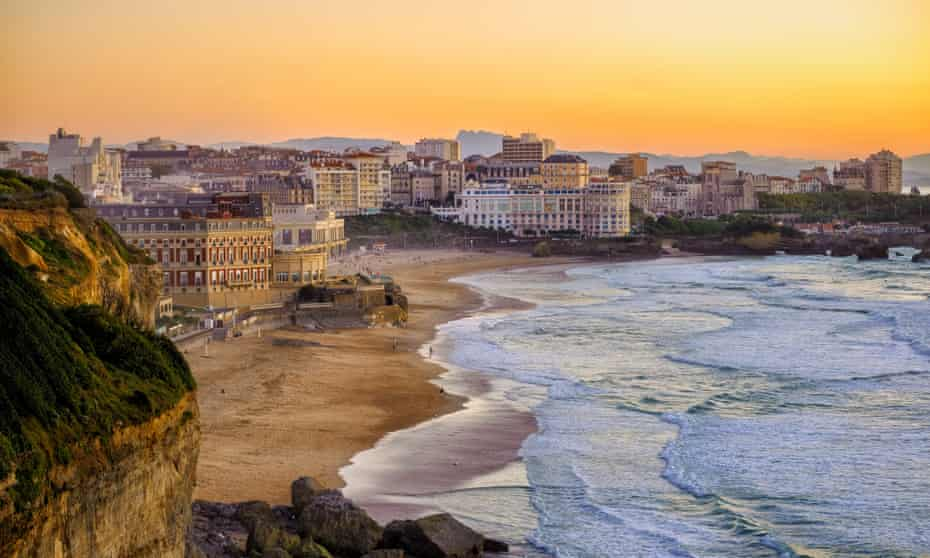 Sunset over Biarritz beaches