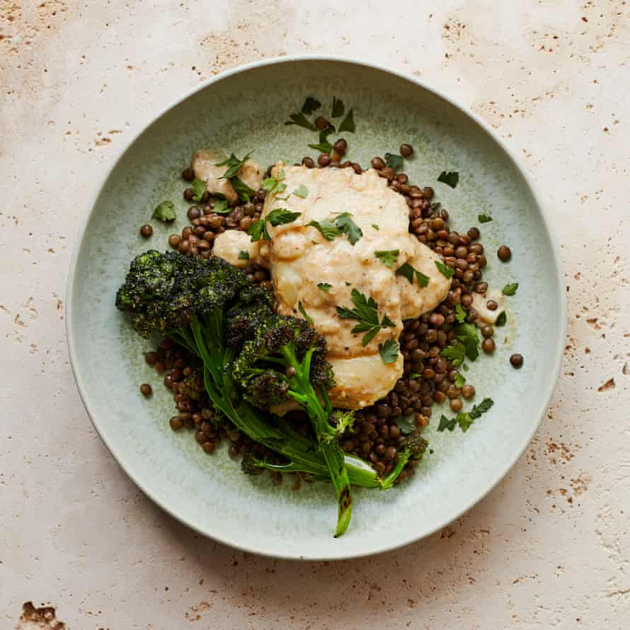 Thomasina Miers' poached smoked haddock, grilled broccoli and lentil salad with anchovy cream.