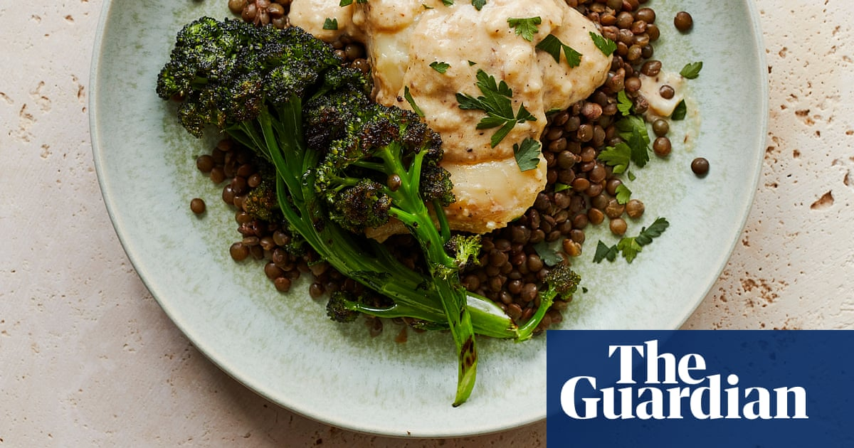 Thomasina Miers' recipe for poached smoked haddock with grilled broccoli, lentils and anchovy cream