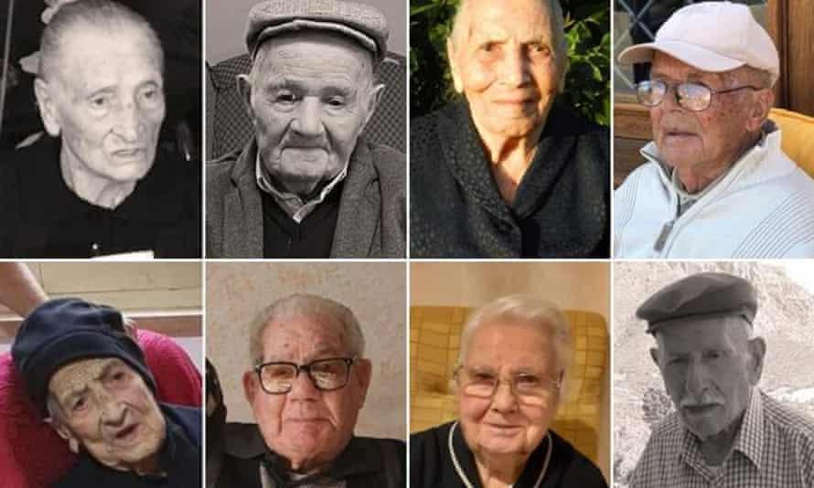 The eight living centenarians in Perdasdefogu.