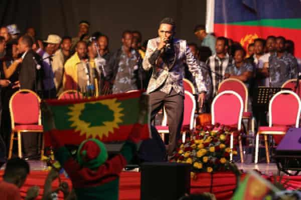 Haacaaluu Hundeessaa at the Millennium Hall in Addis Ababa