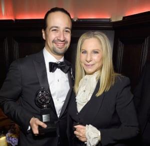 Lin-Manuel Miranda and Barbra Streisand celebrate Hamilton's many awards.