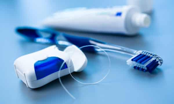 Dental Equipment, floss toothbrush and toothpaste