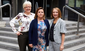 Sam Walker, centre, was supported by Carrie Gracie, left, and Sam Smethers, right.