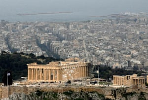 The Acropolis, with a section of modern Athens behind.