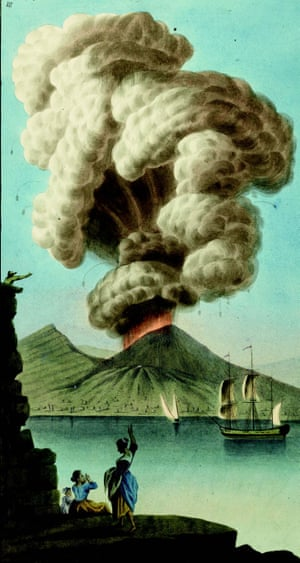 Eruption of Vesuvius on 9 August 1779, seen from Naples. Gouache by Pietro Fabris, from the supplement to the 1779 edition of William Hamilton's Campi Phlegraei.