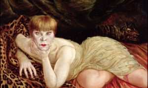 Reclining Woman on a Leopard Skin  by Otto Dix