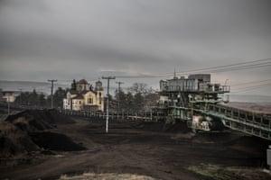 The church and mining equipment in Charavgi.