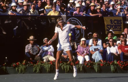 Bjorn Borg in action at the 1981 US Open – his final grand slam tournament.