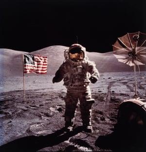 Eugene Cernan during the Apollo 17 moon landing 1972