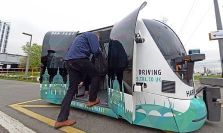 A Westfield POD autonomous vehicle in Greenwich.