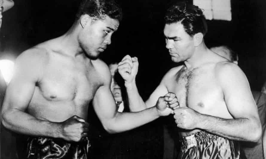 Joe Louis fighting the German boxer Max Schmeling during the heavyweight championship in New York, June 1938.