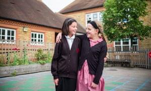 Hazel Sydenham and Erin Scott in front of Whitstable junior school